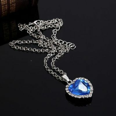 Heart of The Ocean Sapphire Pendant Necklaces, Romantic Titanic Jewelry Gift New