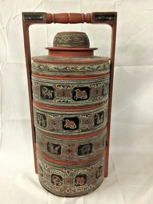 Antique Tibetan Chinese Asian Wood Lacquer Stacked Food Container