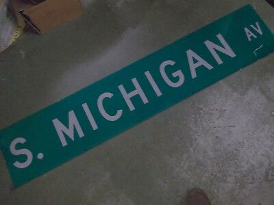 "LARGE Original S. MICHIGAN AV Double-Sided Street Sign 60"" X 12"" White on Green"