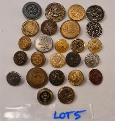 Lot of 25 Vintage Metal Buttons - Military, Dress - #R-2-3-7-Lot 5