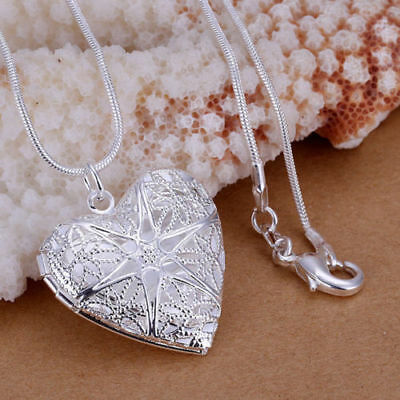 """Wholesale 925 Sterling Silver Heart Necklace, Locket Photo Pendant 18"""" Inches N1"""