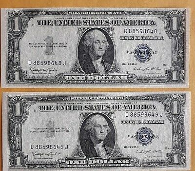 Uncirculated Consec Pair 1935 H One Dollar Silver Certificate Notes