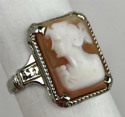 Antique 19thC Carved Victorian Cameo Bust 14k White Gold Ladies Ring Size 6.25