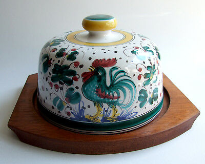 vintage ceramic hand-painted pottery Italy Deruta cock rooster Hahn Käseglocke