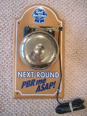 Vintage Pabst Blue Ribbon Beer Sign Pbr Next Round Boxing Bell Pull Chain Rings