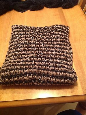 NWT Infinity Circle Scarf For  Fall / Winter Black / Taupe With Sequins