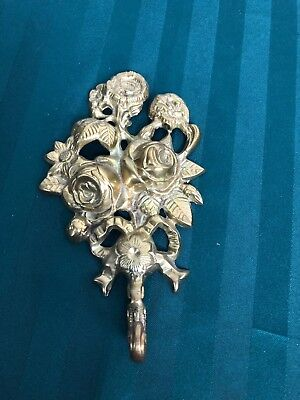 """Vintage Solid Brass Wall Hanging Ornate Hook Floral Roses 7 1/2"""" By 4 1/2"""""""