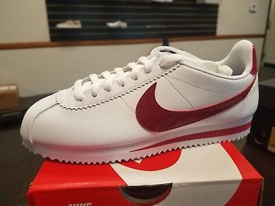 efd3c4d73e5 Brand New Women Wm Nike Cortez White Leather Running Shoes White Red  807471-108