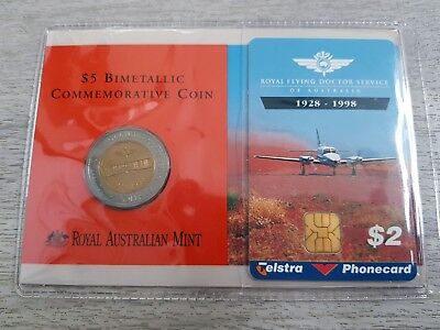 1998 Royal Flying Doctor Service Bimetal $5 Coin with $2 Telstra Phonecard