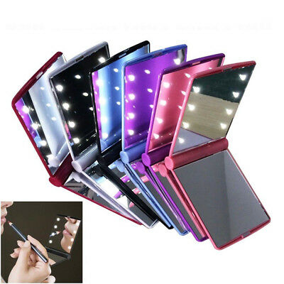Pocket Face Lip Makeup Mirror 8 LED Lights Lamps Cosmetic Tools Folding