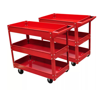 2 Workshop Tool Trolley 3 Tier Strong Shelves Warehouse Picking Handle Tray Side
