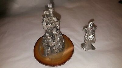 Spoontiques 4363 Pewter Castle  with crystal & base & Pewter Wizard  1980s