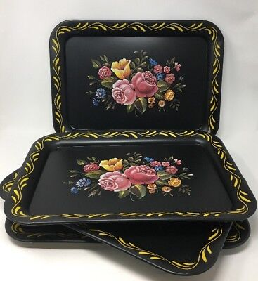 Tole Painted Trays Set of Four Vintage Metal Black Floral PINK YELLOW BLUE #2355
