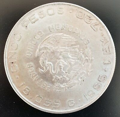 1955 Mexico Cinco Peso.EF+ coin.