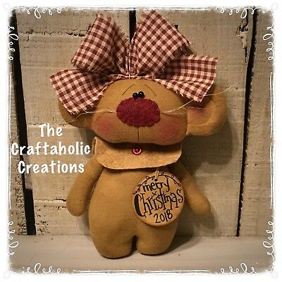* CUSTOM primitive raggedy doll Country MOUSE  ornie VALENTINE ornament GIRL