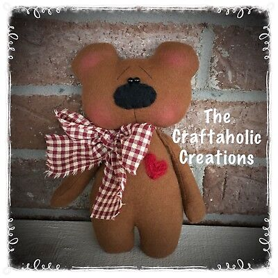 * CUSTOM primitive raggedy doll TEDDY BEAR Christmas ornie BEAR boy VALENTINE