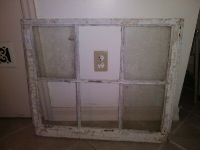 "24"" x 28"" Antique 6 pane missing 3 Wood sash frame Window Chippy Vintage"