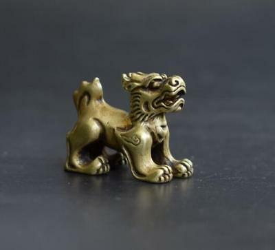 China Handmade Antique Carved Animal Kylin Copper Statuette Amulet Pendant