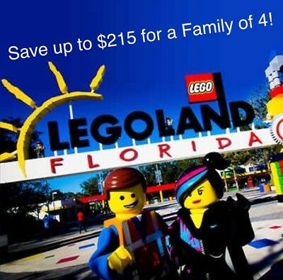 LEGOLAND FLORIDA PROMO SAVE $215 FOR FAMILY of 4 ~ $35 TICKETS ~ GOOD THRU 2019