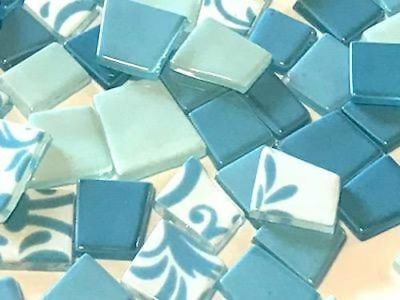 Aqua Blue Irregular Patchwork Glass Mosaic Tiles - Art Craft Supplies