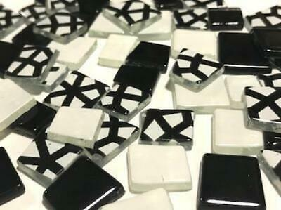 Black & White Irregular Patchwork Mosaic Glass Tiles - Art Craft Supplies