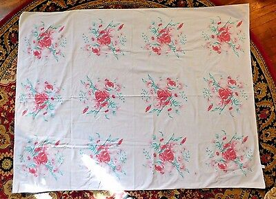 VINTAGE 1950's COTTON FLOWER PRINT TABLECLOTH 50 by 66 INCHES