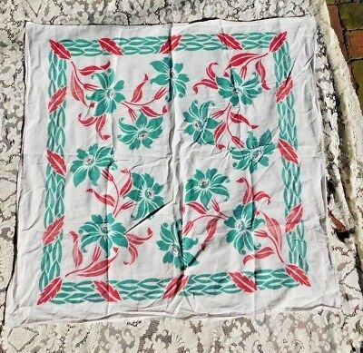 VINTAGE 1940's / 50's COTTON TABLECLOTH W LARGE HAWAIIAN TYPE FLOWERS 38 BY 39