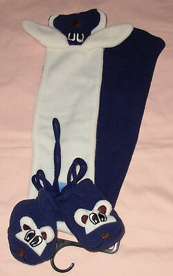 New Toddler Scarf & Mitten Set with Animal Faces