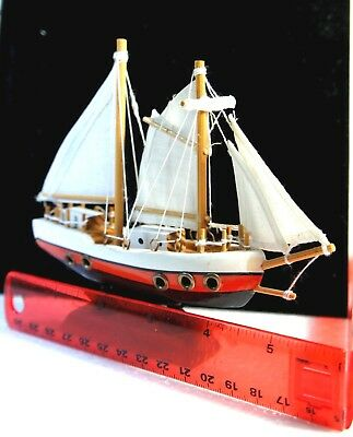 Sailing Ship, Vtg, Assembled Wood Model, W/ Skillfully Hand Crafted Details