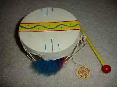 Vintage Native American Indian Hand Made Leather Wood Drum
