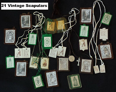 Religious SCAPULARS Lot of 21 Assorted 14 Brown 7 Green VINTAGE Roman Catholic