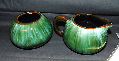 Blue Mountain Pottery Cream And Sugar. Traditional Glaze. Green Flawless
