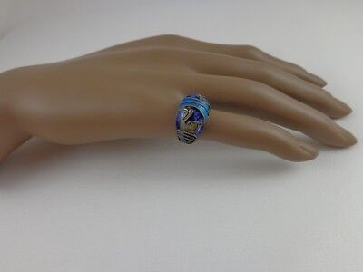 Antique Art Deco Chinese Export Enamel Sterling Silver Enamel Chinese Swan Ring