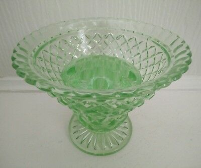 Large Vintage 1930's Art Deco Green Depression Glass Vase with Flower Frog