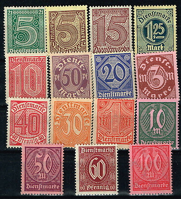 Germany Weimar Republic Official Stamps upto 100 DM 1922 MNH/MLH