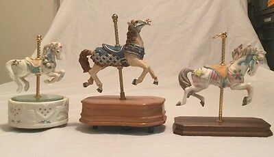 *carousel Horses Set Of 3 ( 2 Are Music Boxes And One Just Display )