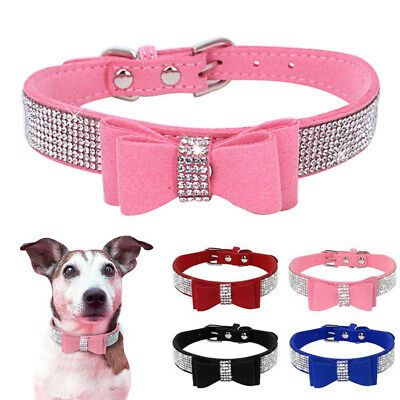 Bling Rhinestone Dog Necklace Collar Diamante Bowknot for Pet Puppy Chihuahua