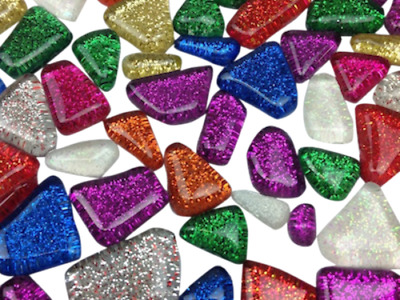 Mixed Glitter Glass Mosaic Tiles Irregular Shaped - Art Craft Supplies