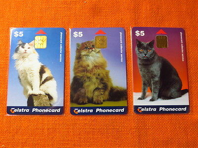 3x Telstra Phonecards, CATS SET Limited Edition, Mar 1998, Mint & Unused