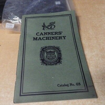 VINTAGE FARMING CATALOG Huntley Co / MONITOR CANNERS' MACHINERY #65 1920'S VG