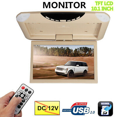 10.1'' LCD Car Roof Flip Down Monitor Auto Ceiling Overhead TFT USB + Remote