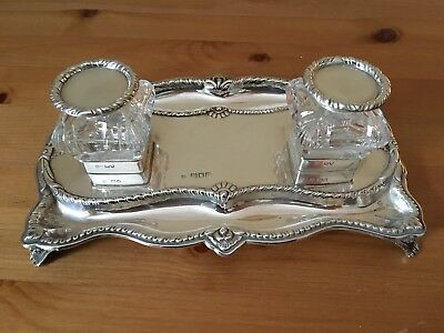 William Hutton & Sons, Victorian silver double inkstand, London 1900