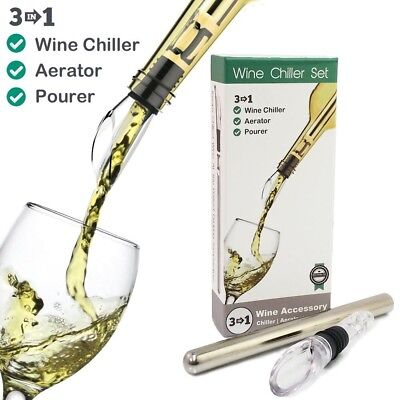 Wine Aerator, Chiller & Pourer Set - Stainless Steel Chilling Rod with