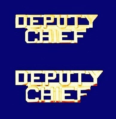 Deputy Chief Collar Pin Set Gold Cut Out Letters Fire Dept Police Rank 2214 New
