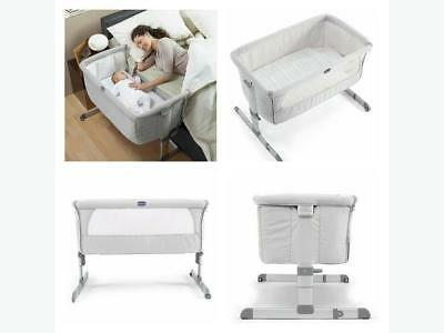 Chicco Next2Me Silver Bedside Crib Co-Sleeper Travel Cot