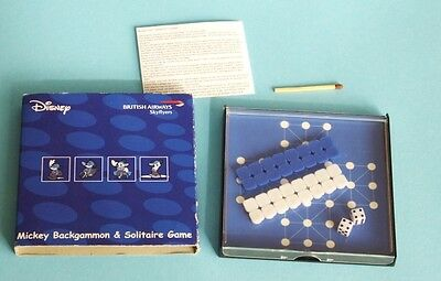 altes British Airways Reise Spiel Disney Mickey Mouse Backgammon Solitaire