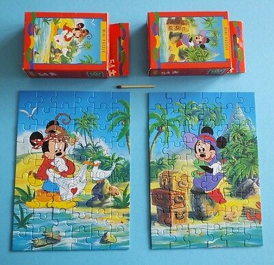 2 alte Mickey Kids Mini Kombi-Puzzle 54 Disney Micky Maus Minnie Strand