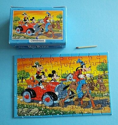 altes Clementoni Mini Puzzle 60 Disney Mickey Minnie Mouse Goofy Auto Micky Maus