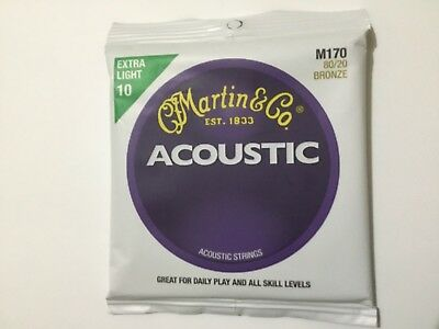 Martin M170 Acoustic Guitar Strings Extra Light 80/20 Bronze Gauge 10-47.
