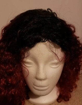 Red and black curly wig New. Long and very soft hair
